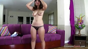 Teen Thai girl with big natural tits begs for my cum