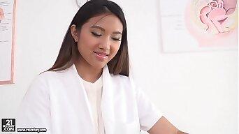 Asian slutty nurse got double penetrated - Mai Thai, Thomas Stone and Csoky Ice