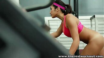 TheRealWorkout Busty Asian gym babe tight pussy fucked