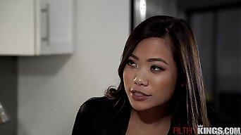 Slutty Asian Step Sister Vina Sky Seduces Horny Step-Bro in Kitchen